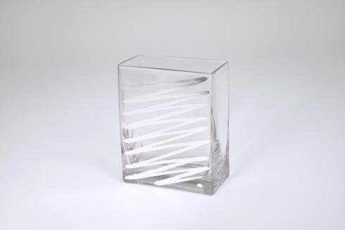 """$48.95 Rectangular Vase 6"""" Silver Zig Zag"""