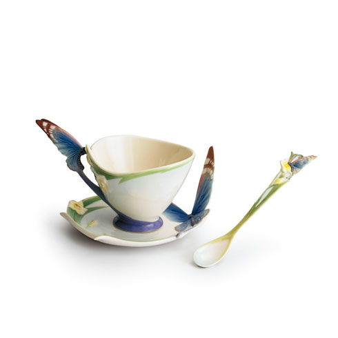 Cup, Saucer, Spoon Set, butterfly blue