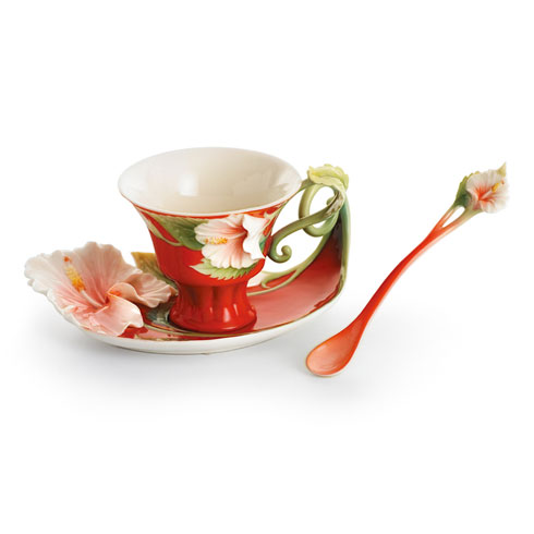 Cup, Saucer, Spoon Set, Island Beauty