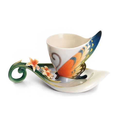 $200.00 Cup/Saucer, Butterfly tiger