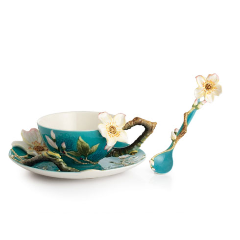Cup, Saucer, Spoon Set, Almond