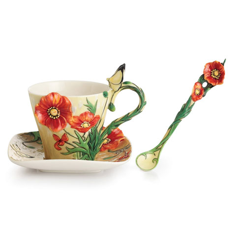 Cup, Saucer, Spoon Set, Poppy