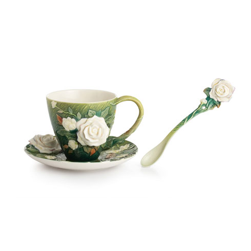 Cup, Saucer, Spoon Set, White roses