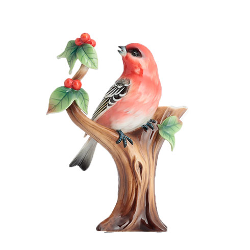 $224.00 Vase, Pine grosbeak finch