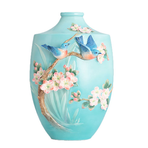 Vase, Bluebird on apple tree (LE)