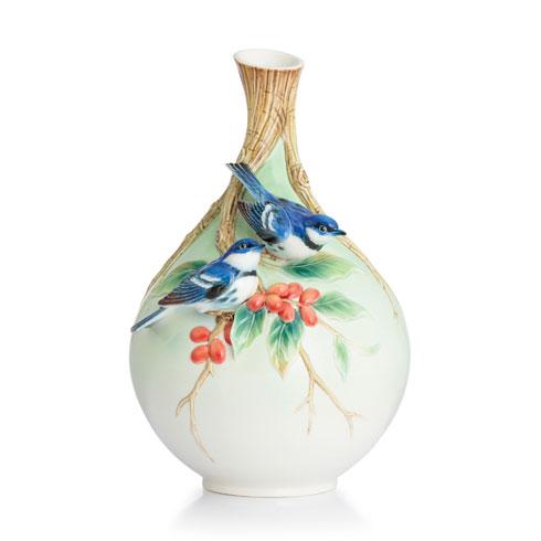 $660.00 Vase, Cerulean warblers on coffee tree
