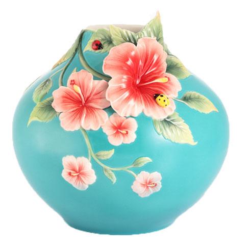Vase, Hibiscus and Ladybug