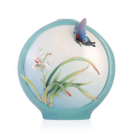 Vase, Boat Orchids/Butterfly