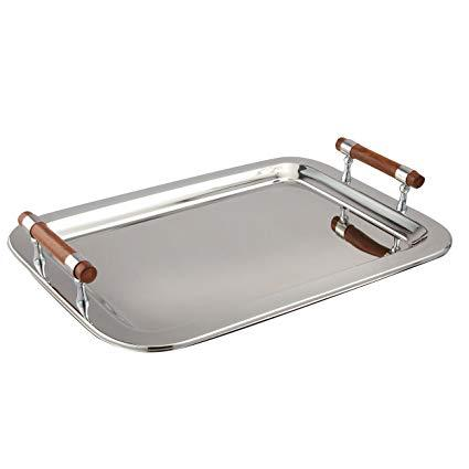 Rectangular tray with wood handles