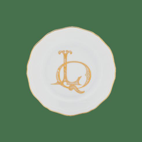 Fischer Evans Exclusives   Richard Ginori Corona Monogram Oro Bread Plate, S/4, with H Monogram $215.00