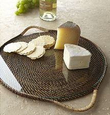 $70.00 Round serving tray with glass
