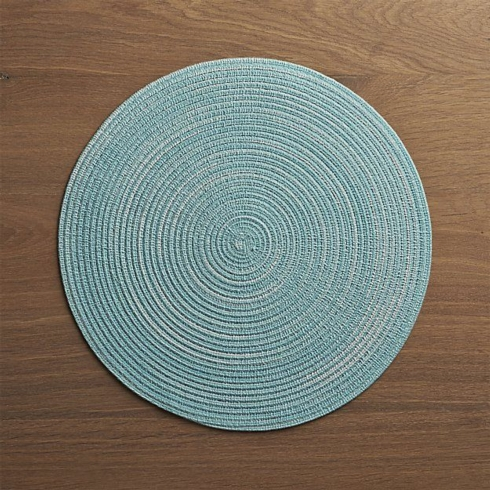 $4.00 Solid round placemat, light aqua
