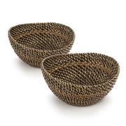 Set of 2 serving bowls with glass inserts collection with 1 products