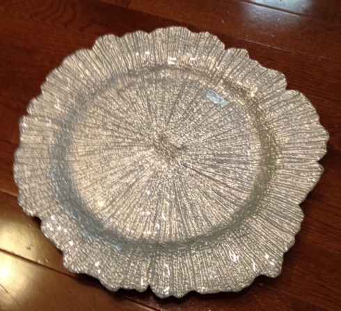 $25.00 Silver Sea Sponge Charger by Leeber