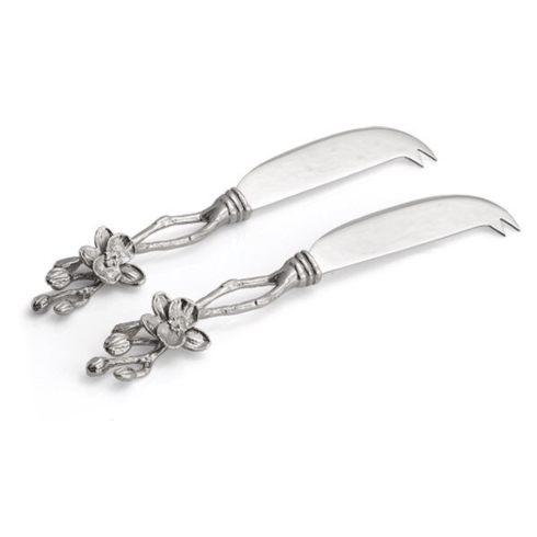 White orchid cheese knives s/2