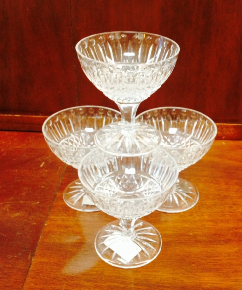 $160.00 Crystal Ice Cream Dishes Set/4