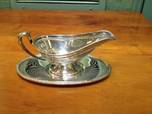 $190.00 Waterford Beaded Gravy Boat and Stand, Silver plate
