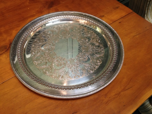 $120.00 Pierced Round Tray, Silver plate