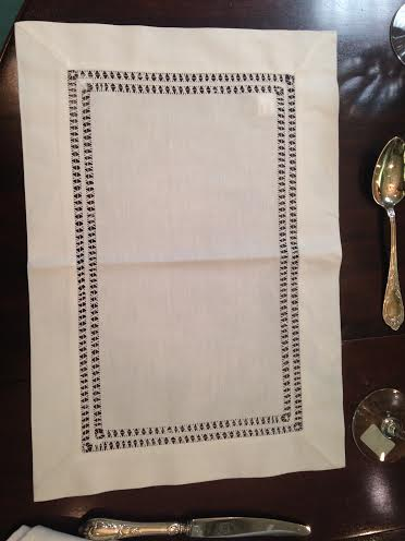 $12.00 Ivory Double Hemstitched Placemat