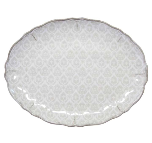 """$28.00 16"""" Coupe Oval Platter Louise White"""