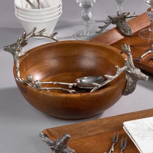 Saro Designs   Wood bowl w/ reindeer handles $125.00