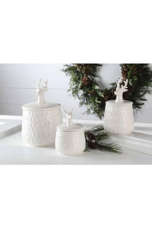 """Fischer Evans Exclusives   9"""" white ceramic lidded canister $20.00"""