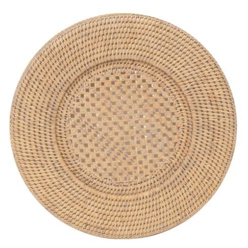 $18.00 Rattan White Charger