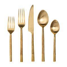 FSR Exclusives   Artisan Gilded Gold Flatware 5pc/setting $52.99
