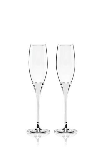 Kate Spade Simply Sparkling Silver Glitter Flute Pair