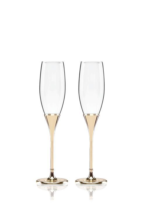 Kate Spade Simply Sparkling Gold Glitter Flute Pair