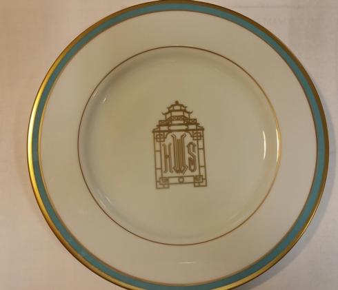 $71.00 Signature Salad w/ blue and gold rim + Halo Home Pagoda monogram