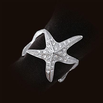 $175.00 Starfish Napkin Rings S/4 Platinum