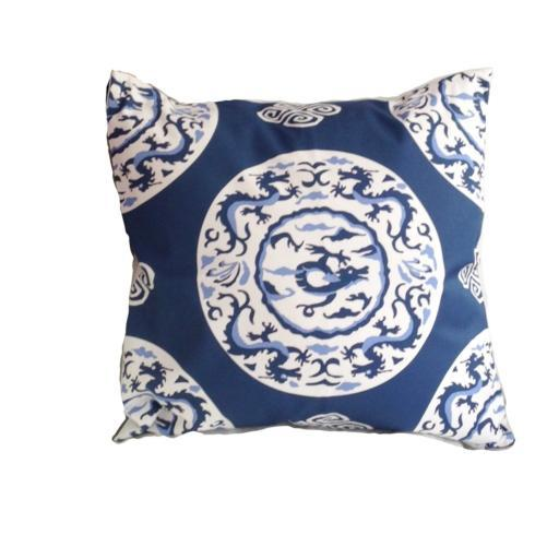 "$215.00 22"" Blue Dragon Pillow"