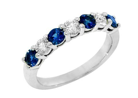$2,156.00 14K White Gold Sapphire and Diamond Ring