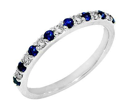 $875.00 14K White Gold Sapphire and Diamond Ring