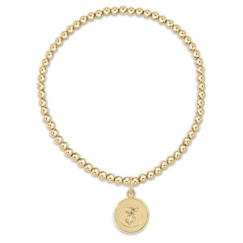 Classic Gold 3mm Bead Bracelet-Respect Gold Disc-T