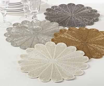 $34.00 Ivory Flower Design Beaded Placemat