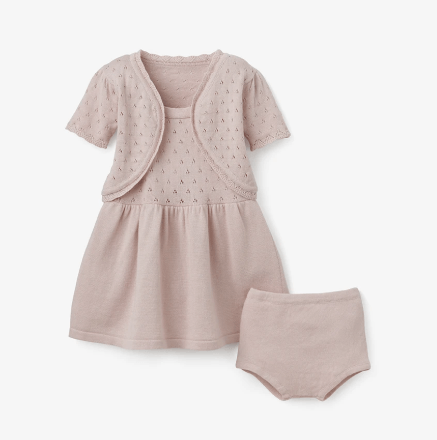 $64.00 Blush Pointelle Dress 3pc
