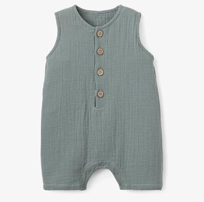 Elegant Baby   Muslin Shortall- Sage $34.00