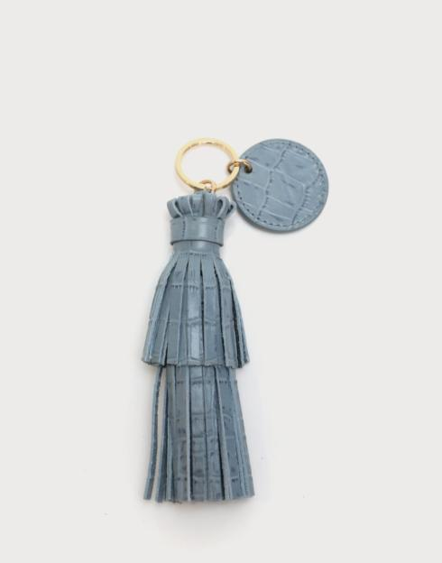 $48.00 The Tassel with Key Ring Tag Croc Embossed
