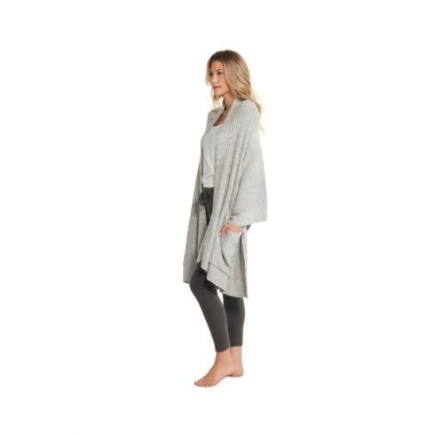$120.00 Lite Heathered Travel Shawl, Pewter/Pearl