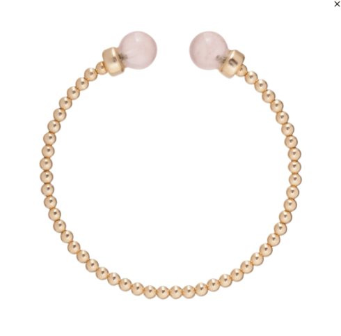 $52.00 Classic Gold 3mm Bead Cuff - Rose Quartz