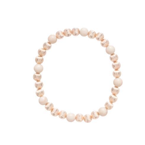 $82.00 Dignity Gold Sincerity Pattern 6mm Bead Bracelet - Riverstone