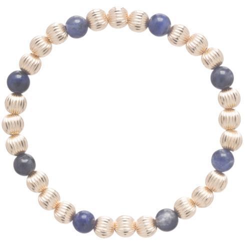 $82.00 Dignity Gold Sincerity Pattern 6mm Bead Bracelet - Sodalite
