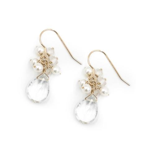 $88.00 Meredith Moonstone and Freshwater Pearl Gold Earring