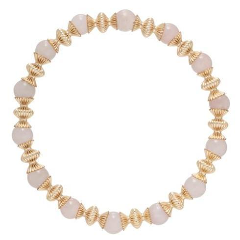 $86.00 Loyalty Gold 6mm Bead Bracelet-Rose Quartz