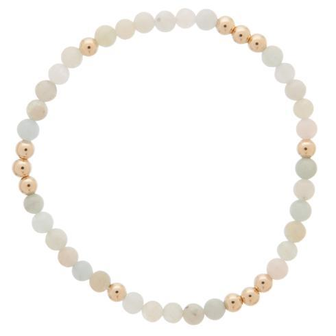 $28.00 WORTHY PATTERN 4MM BEAD BRACELET - AQUAMARINE