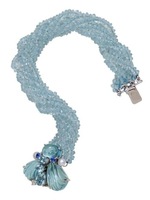 $2,450.00 Aquamarine Bumble Bee Bracelet with .07pt Diamonds