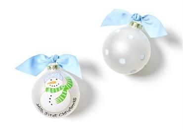 $23.95 My First Christmas Glass Ornament - Blue Snowman