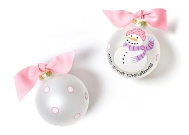 My First Christmas Ornament - Pink Snowman